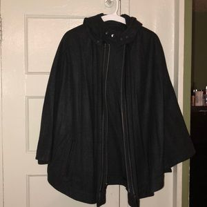 DARK GREY CAPE JACKET!!